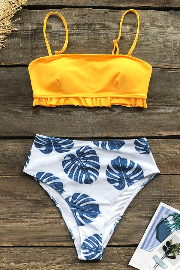 Bikini estampado amarillo y Monstera