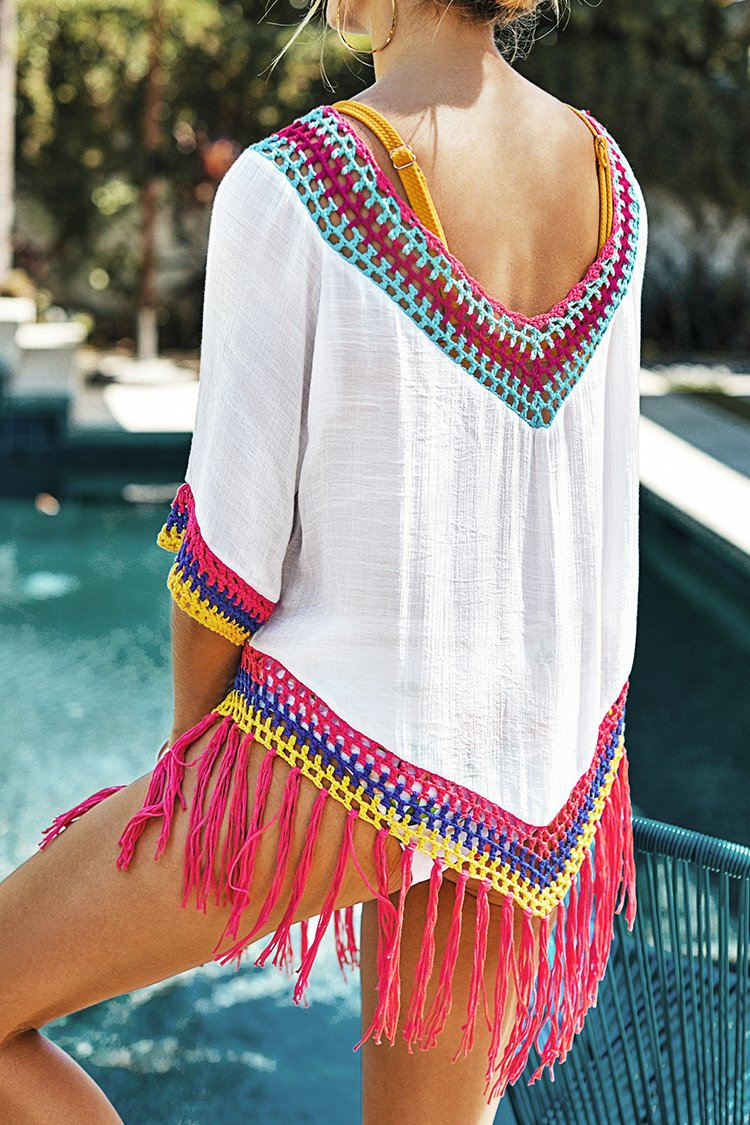 Cover up Blanco con Ribete de Crochet y Arco Iris