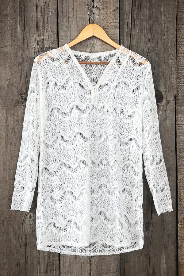 Cover Up de Crochet Blanco con Cuello en V