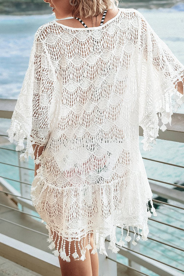 Cover up de Encaje Blanco Crochet con Borla