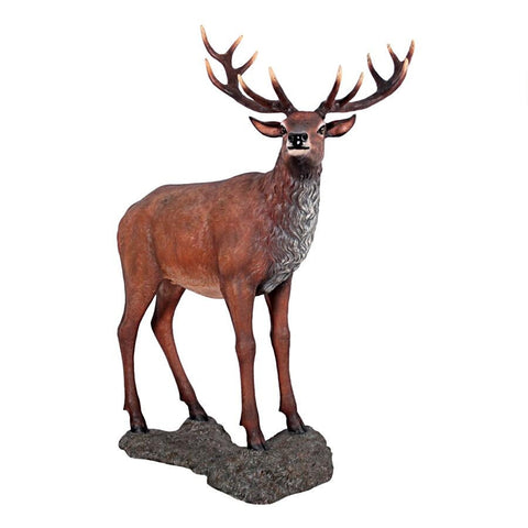 Red Deer Buck Statue With Base - Sculptcha