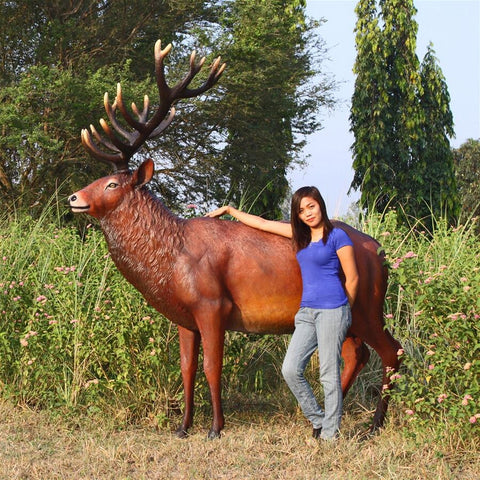 Grand Scale Red Deer Buck Statue - Sculptcha