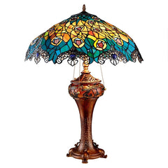 Art Nouveau Peacock Table Lamp