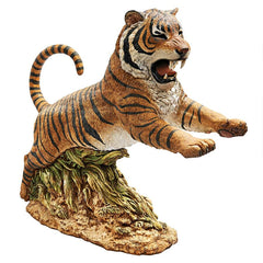 Jungle Cat Leaping Bengal Tiger Statue