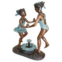 Dancing Splash Girls Bronze Statue
