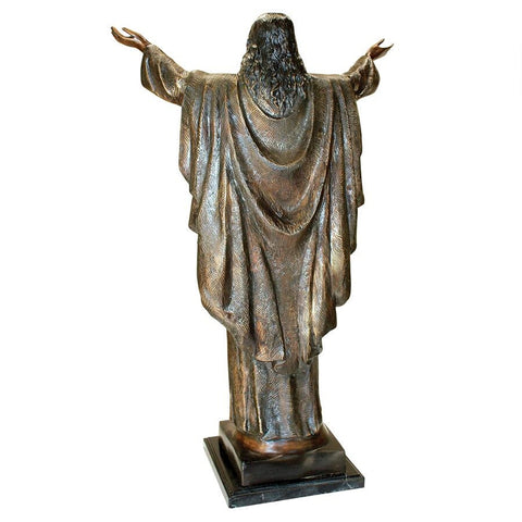 Jesus Christ Arms Raised Bronze Statue - Sculptcha