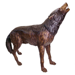 The Howl of the Wild Wolf Bronze Statue
