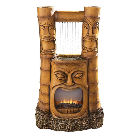 Tiki Gods of Fire and Water Garden Fountain - Sculptcha