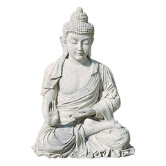 Meditative Buddha of the Grand Temple Garden Statue, Giant 47 Inch, Fiberglass Polyresin,