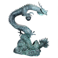 Large Asian Water Dragon Bronze Statue