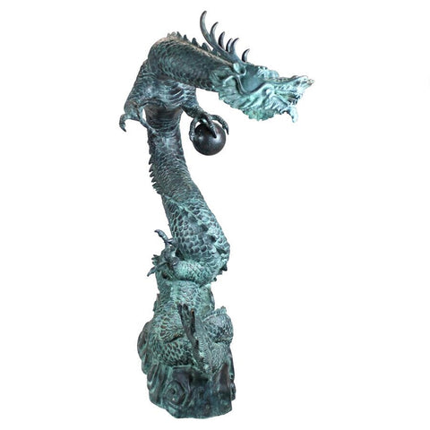 Large Asian Water Dragon Bronze Statue - Sculptcha