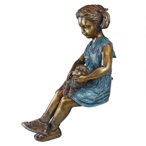 Sitting Savannah Girl With Dog Bronze Statue - Sculptcha