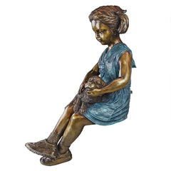 Sitting Savannah Girl With Dog Bronze Statue