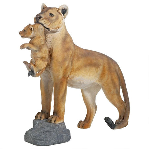 Lioness With Cub Statue - Sculptcha