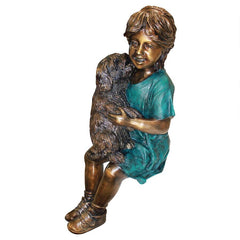 Puppy Kisses Girl With Dog Bronze Statue