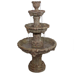 Medici Lion Four Tier Brown Fountain