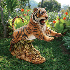 Jungle Cat Leaping Bengal Tiger Statue - Sculptcha