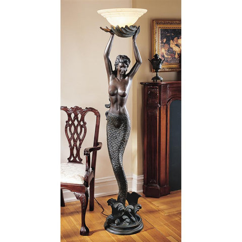 The Goddess Offering Mermaid Floor Lamp - Sculptcha