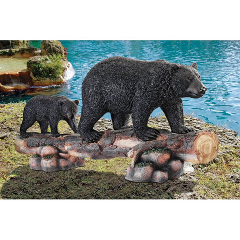 Mother Black Bear And Cub Statue - Sculptcha