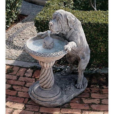 Quenching A Big Thirst Saint Bernard Dog Garden Fountain - Sculptcha