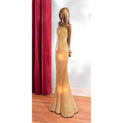 Woman In Gold Dress Floor Lamp - Sculptcha