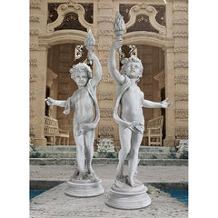 Lighting the Heavens Grande Cherubs Sentinel Statue Set - Sculptcha