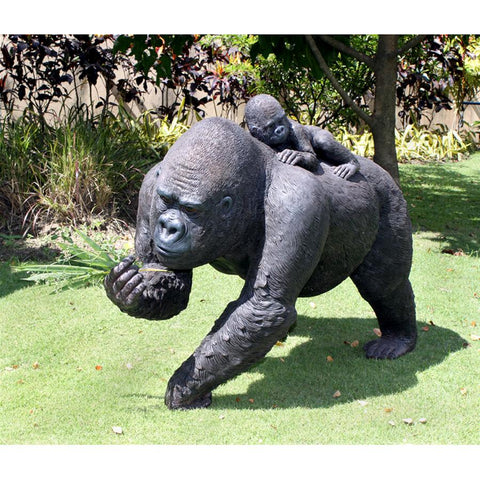 Lowland Gorillas Mother And Child Large Statue - Sculptcha