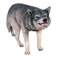 Growling Gray Wolf Animal Statue - Sculptcha