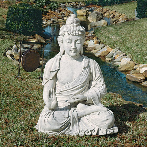 Meditative Buddha of the Grand Temple Garden Statue, Giant 47 Inch, Fiberglass Polyresin, - Sculptcha