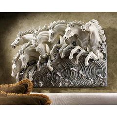 Neptune's 3D Lucky Horses Of The Sea Frieze Wall Sculpture - Sculptcha