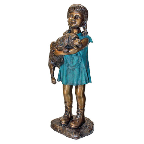 Can I Keep Him Girl With Dog Bronze Statue - Sculptcha