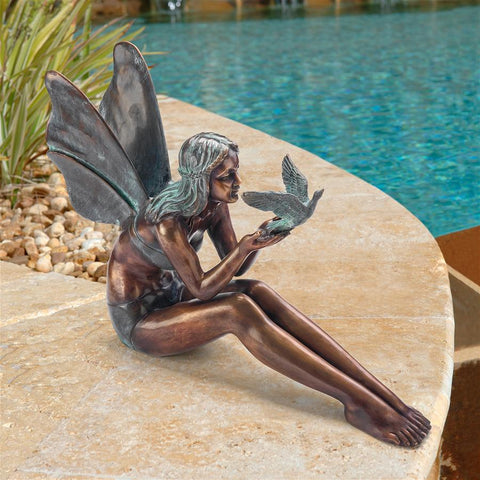 Bronze Bird Fairy Large Statue - Sculptcha