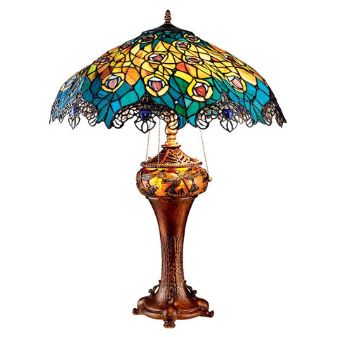 Art Nouveau Peacock Table Lamp - Sculptcha