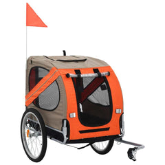 Dog Bike Trailer Cargo Cart Carrier Bicycle Pet Stroller Trailers for Pets, Orange and Brown - Sculptcha