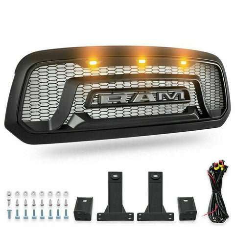 Front Grille for 3013-2018 Dodge Ram 1500 Rebel Replacement Grill with 3  LED Lights