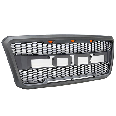 Front Grille 2004-2008 Ford F-150 F150 SVT Raptor Style Grill With LED, Black Gray