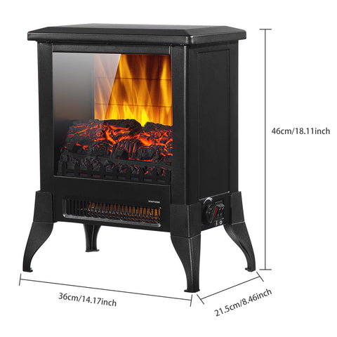 14 inch Electric Fireplace Stove 1400w , Portable Freestanding with Thermostat, Realistic Flame and Logs Vintage Design for Home and Office - Sculptcha