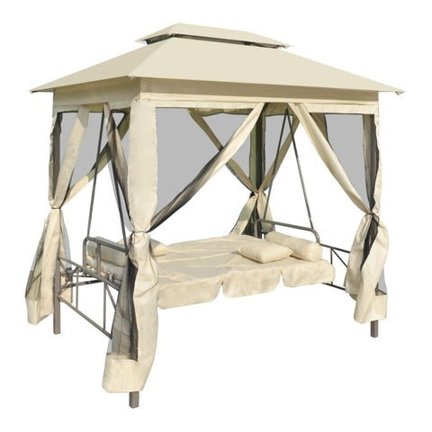2-Person Gazebo Swing Chair Patio Daybed with Canopy, Mesh Walls with Corrosion-Resistant, Hook & Loop Fasteners Cream White