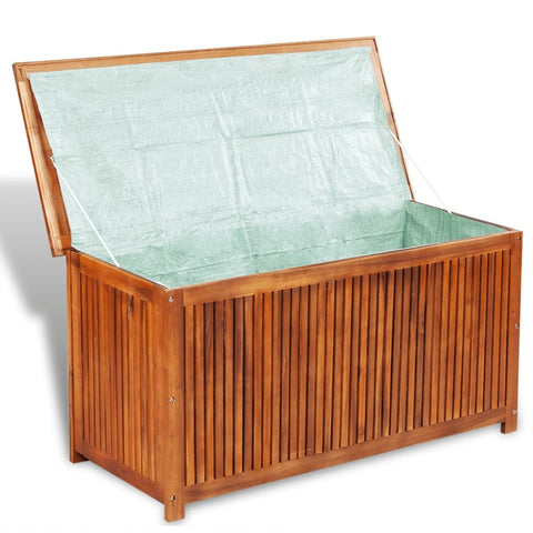 Deck Box in Acacia Wood, Wooden Patio Storage Box for Indoor or Outdoor Cushion Storage Bench 46x20x24 Inch