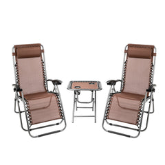 Zero Gravity Lounge Chair Recliner, Patio Chaise Folding with Side Table, 2 Chairs - Sculptcha