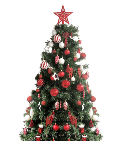 88 Piece Assorted Christmas Tree Ornaments Set, Shatterproof Balls Xmas Seasonal Decorative Hanging Baubles Set