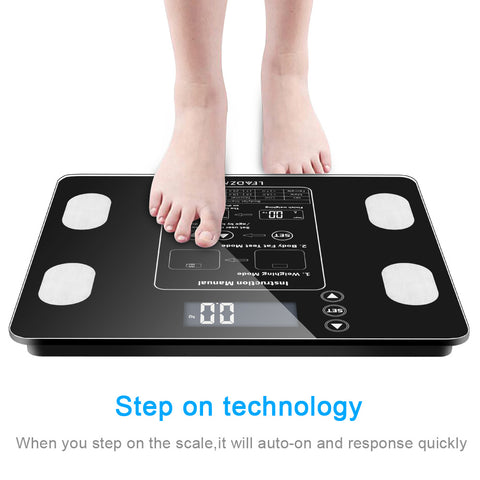 Body Fat Scale with Backlit LCD Digital Bathroom Scale For Body Weight, Body Fat, Water,Muscle ,BMI, Bone Mass , 400 lbs Capacity,Fat Loss Monitor,Black