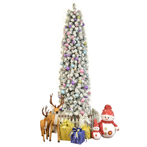 7.5 ft Snow Flocked Artificial Pencil Christmas Tree Holiday Decoration with Metal Stand