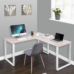 L Shaped Large Corner PC Laptop Study Table Workstation Gaming Writing Desk for Home Office, Oak