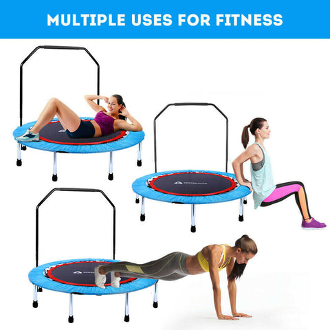 "Portable & Foldable Trampoline - 40"" in-Home Mini Rebounder with Adjustable Handrail, Fitness Body Exercise"