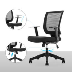 Qwork Office Ergonomic Mesh Task Chair with Lumbar Support, Black