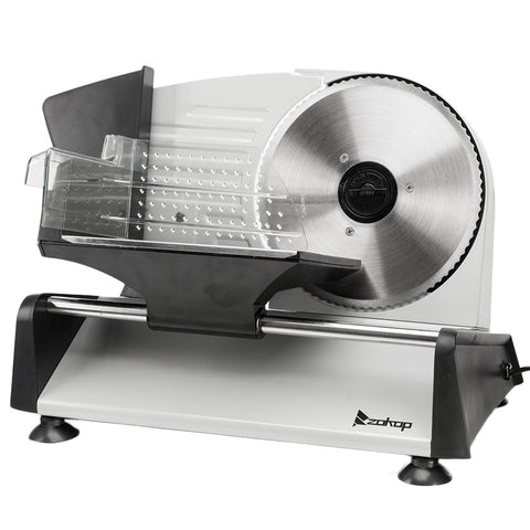 Meat Slicer, Electric Deli Food Slicer with Removable 7.5'' Serrated & Stainless Steel Blade, Cheese Fruit Bread Cutter