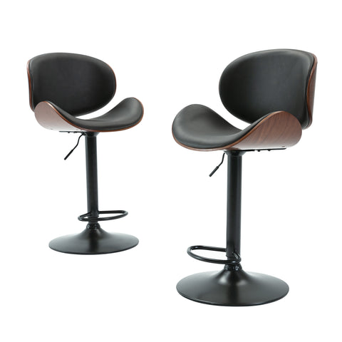 Barstools Set of 2  Mid Century Bar Chair Modern Bentwood Adjustable Height Gas Lift Bar Stool in Black PU Leather