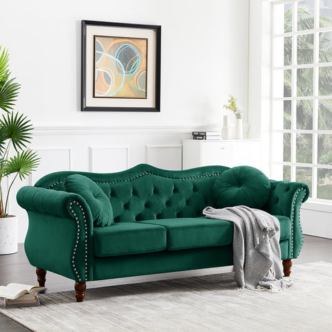 Grahm Chesterfield Tufted Jewel Toned Velvet Sofa with Scroll Arms, Emerald Green