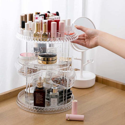 Makeup Organizer 360 Degree Rotating Cosmetic Jewelry Storage Box Case Holder